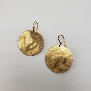 Anthropologie Gold Disc Drop Earrings
